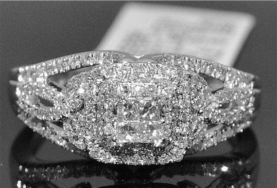 0.5ct Vintage Engagement Ring 14k White Gold Princess Cut