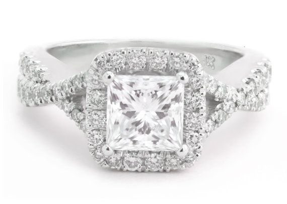 1.20k Princess Cut Diamond Engagement Ring with 0.76k Round Side Diamonds