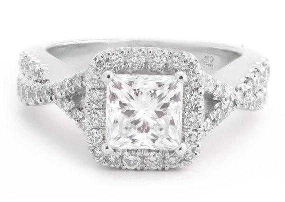 1.20k Princess Cut Diamond Engagement Ring with 0.76k Round Side Diamonds