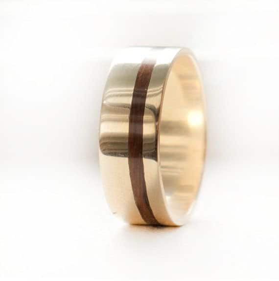10k Yellow Gold Mens Wedding Band with Wood Inlay
