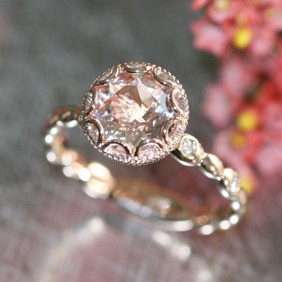 14k Rose Gold Floral Morganite Rings