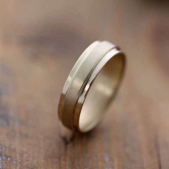 14k Yellow Gold Men's Wedding Band Slate