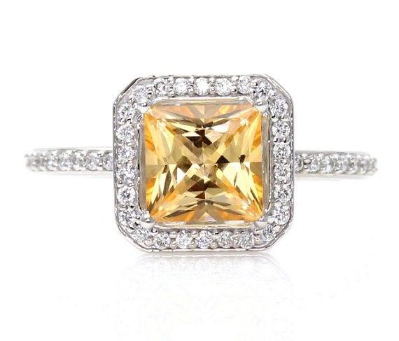 14K Golden Honey Topaz Diamond Princess Cut Engagement Ring