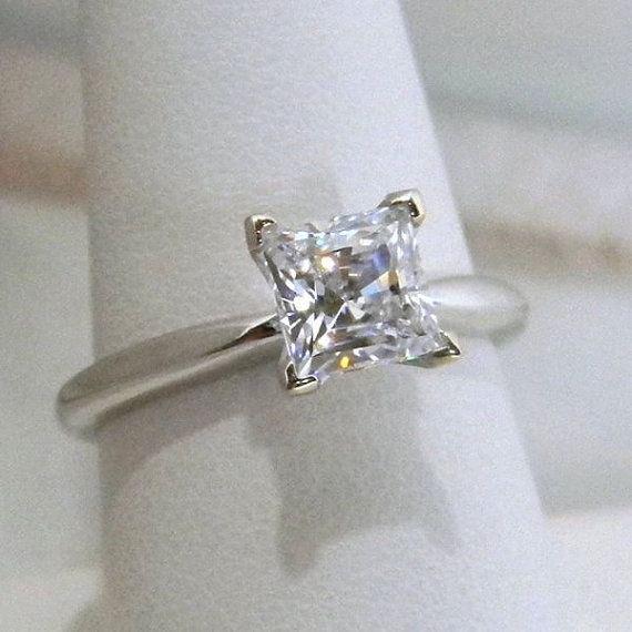 1k Princess Cut V-Prong Engagement Ring 14k Gold
