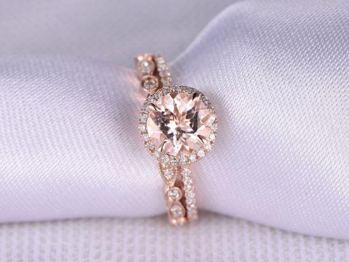 3 carat morganite engagement ring - Morganite Wedding Rings
