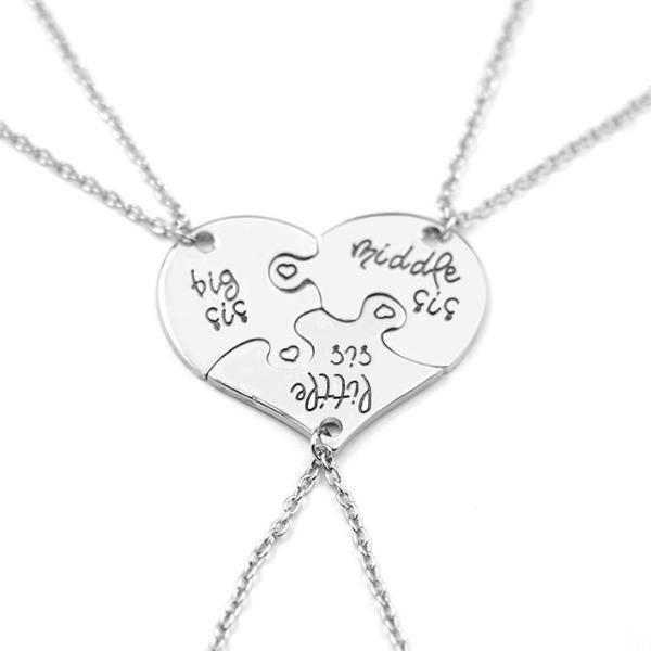 3 Pieces Heart Puzzle Necklace Set