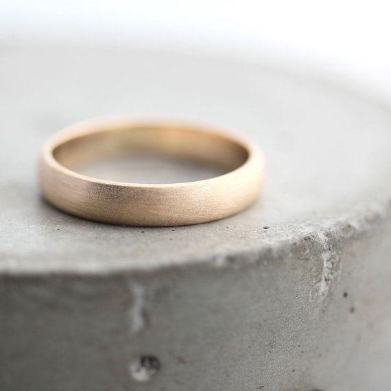 4mm Brushed Gold Men's Wedding Band