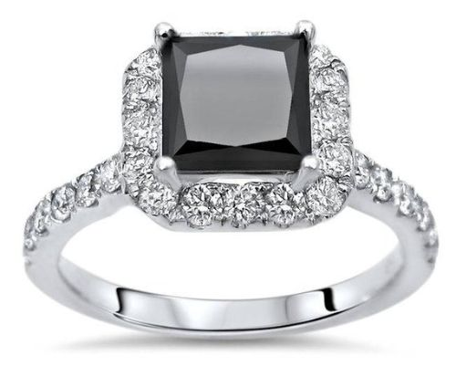 Black Gold Engagement Rings Princess Cut