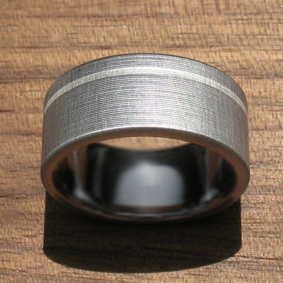 Brushed Titanium Wedding Band for Guys