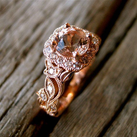 Custom Made Pink Peach Morganite Engagement Ring with Diamonds in Leaf