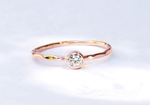 Dainty Delicate Rose Gold Engagement Ring