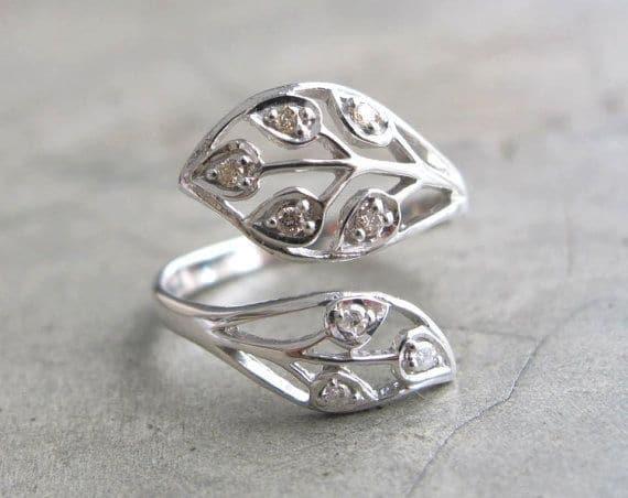 Diamond Leaf Promise Ring