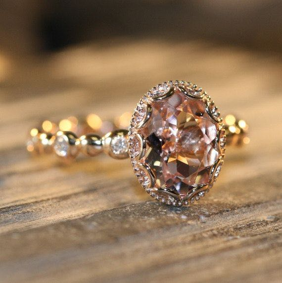 Floral Oval Morganite Engagement Ring in 14k Rose Gold