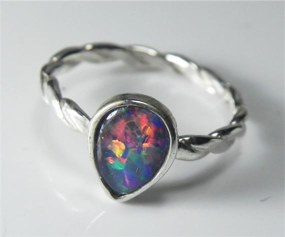 Genuine opal stack engagement ring price 109 by etsy
