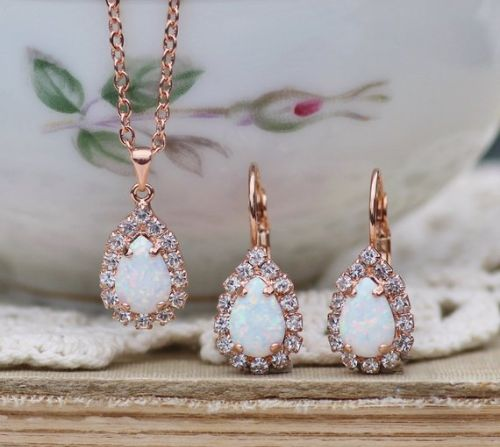 Gold Opal Earrings And Necklace Set