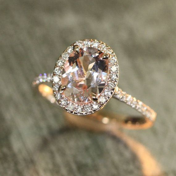Halo Diamond and Morganite Rose Gold Engagement Ring