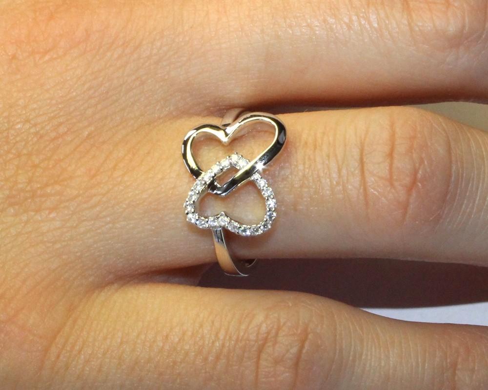 Hearts Promise Rings on Finger