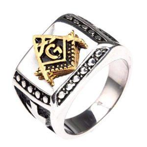 Illuminati Freemason Compass Silver Ring