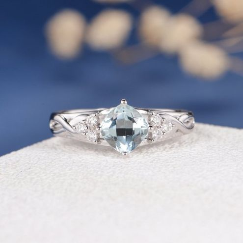 Infinity Diamond and Aquamarine Engagement Ring