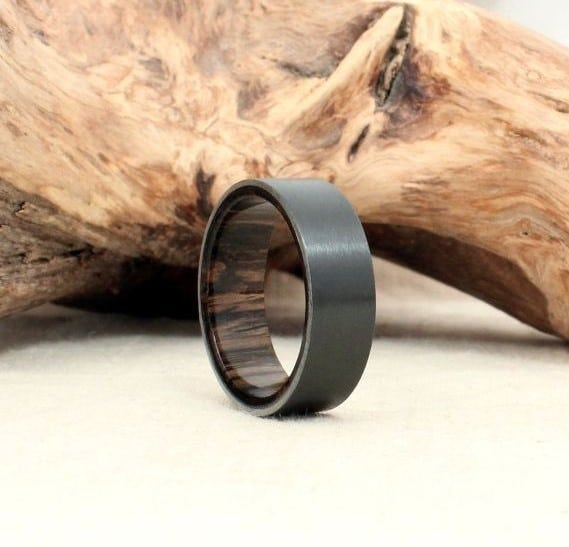 mens black wedding band with wood oak - Black Mens Wedding Rings