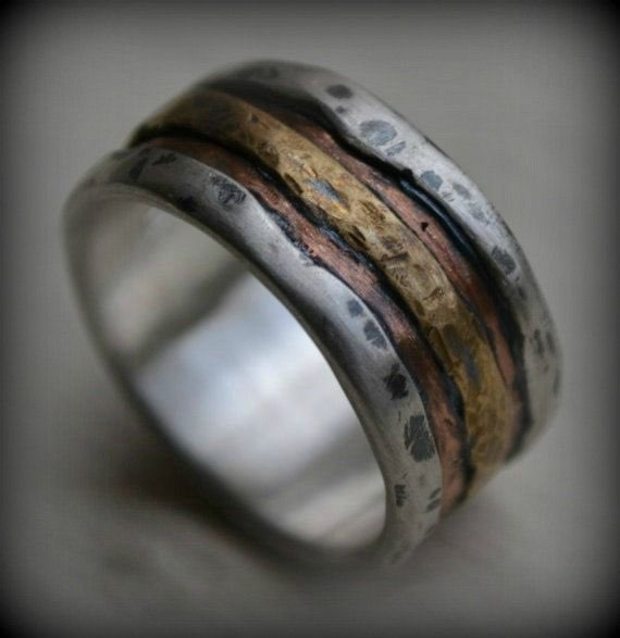 mens silver copper and brass wedding band - Rustic Wedding Rings