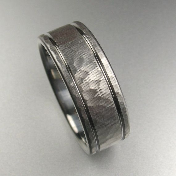 rings titanium s wedding loading comfort is mens carbon black band image fit ring itm fiber silver promise