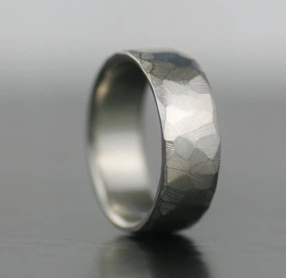 Men S Wedding Band With Palladium And Sterling Silver