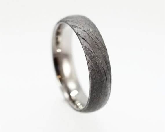 meteorite wedding bands for men over titanium - Meteorite Wedding Ring