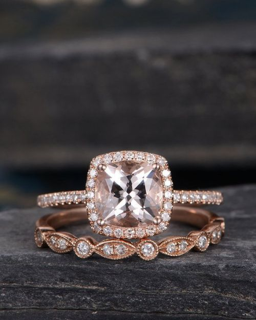 Morganite Cushion Cut Engagement Ring
