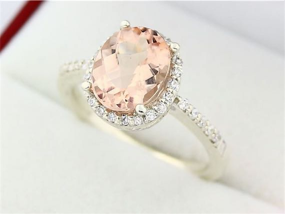 natural oval pink emerald white gold morganite engagement ring - Morganite Wedding Ring