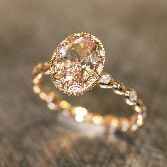 oval peach apricot rose gold morganite wedding ring - Morganite Wedding Ring