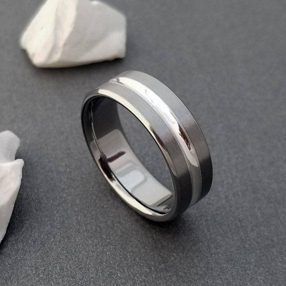 Oxidized Sterling Silver Black-Grey Wedding Band for Men