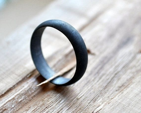 Oxidized Sterling Silver Black-Grey Wedding Band for Men