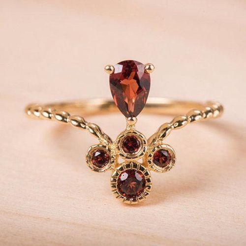 Cluster Garnet Engagement Ring