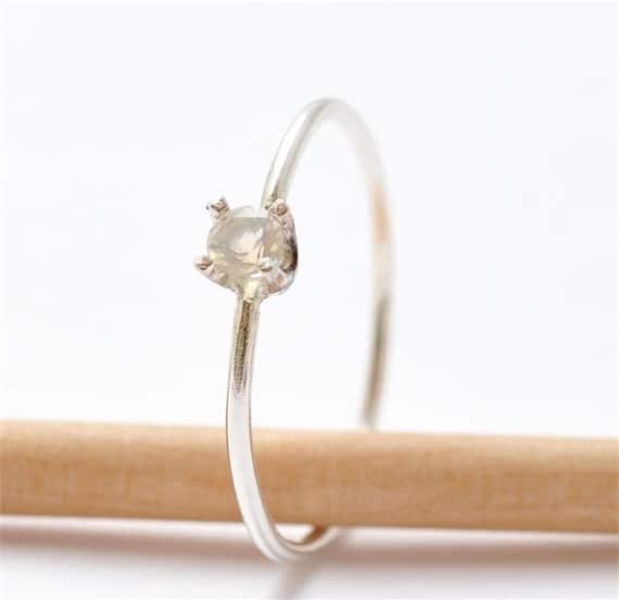Promise Ring Opal White Stone