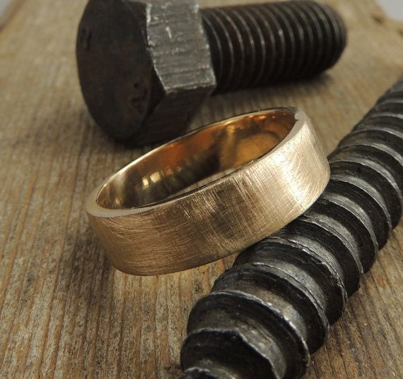 Recycled 14k Brushed Gold Mens Wedding Band