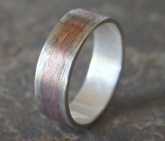 Silver & Copper Men's Wedding Band