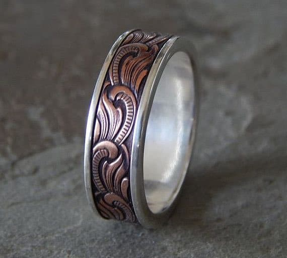 silver copper unique mens wedding band - Mens Wedding Rings Unique