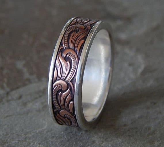 Silver & Copper Unique Men's Wedding Band