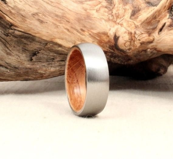 Titanium and Jack Daniels Whiskey Barrel Wedding Band for Men