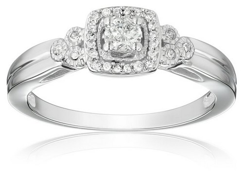 Amazon Collection 10K White Gold Diamond Engagement Ring