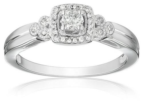 Amazon Collection 10K White Gold Diamond Engagement Ring
