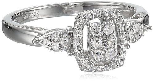 Amazon Collection 10K White Gold Diamond Ring