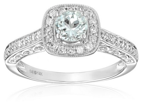 Amazon Collection 14K White Gold Aquamarine And Diamond Ring