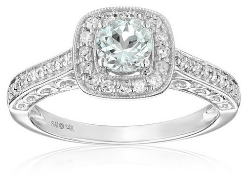 Amazon Collection 14K White Gold Aquamarine And Diamond Ring