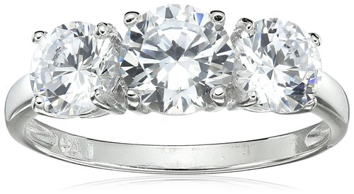 Amazon Collection Sterling Silver Cheap Princess Cut Engagement Rings