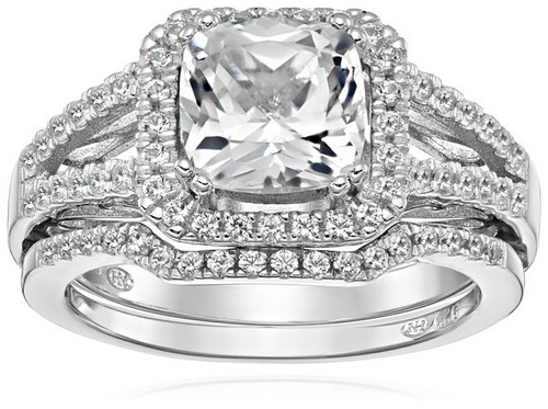 Amazon Collection Sterling Silver White Sapphire Engagement Ring
