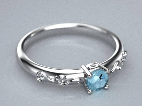 Thin Sterling silver aquamarine ring with side cubic zirconia