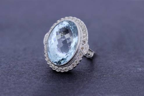 Large Aquamarine Bezel set with Diamonds 18K Gold Ring