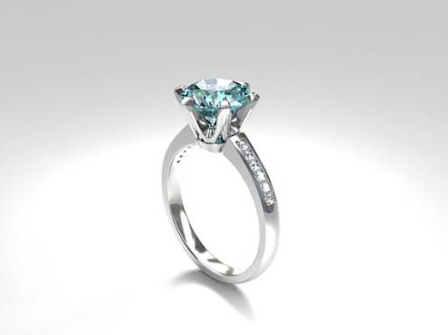 Aquamarine solitaire engagement ring made from 950 Platinum, diamond ring, aquamarine  engagement, blue